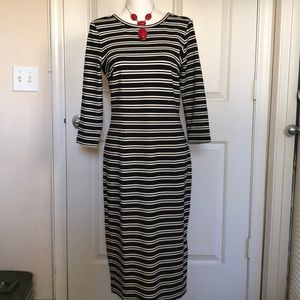 AnnTaylor striped black and white midi dress.